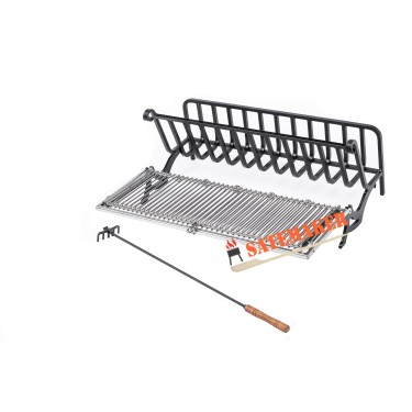SATEMAKER Heavy Rectangular Fire Grate 52x60cm with Rotating Barbecue Grill Grid dept 32cm incl. Rake